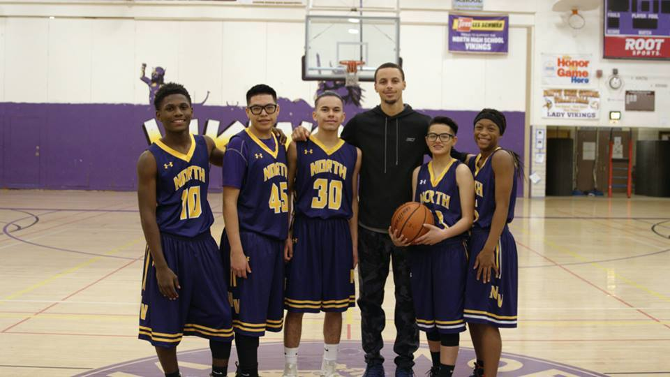 NBA Star steph Curry with North High School Vikings