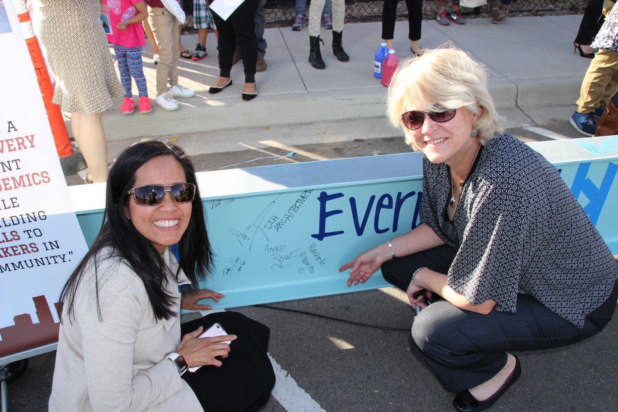 Board of Education members Rachele Espiritu and Anne Rowe
