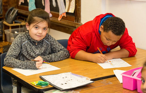 Students at Bryant-Webster Dual Language School.