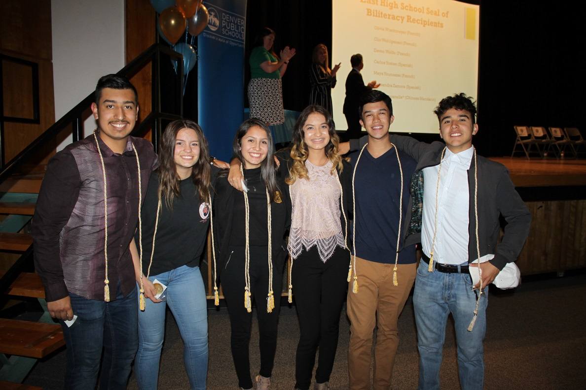 DPS students celebrate earning the Seal of Biliteracy at a George Washington High School celebration.