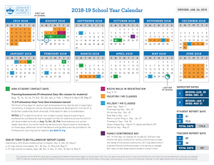 DPS 2018-2019 school year calendar