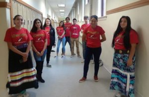 Students wearing their Native American Student Support Program t-shirts to celebrate Indigenous Peoples' Day.