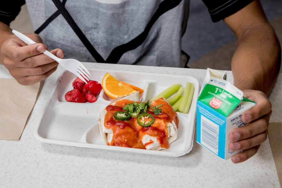 Student with a school lunch tray
