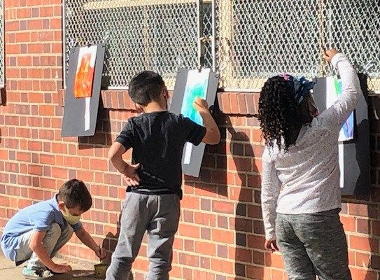 Beach Court welcomed back second- and third-graders with outdoor water coloring