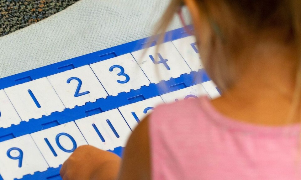 Student learning about numbers