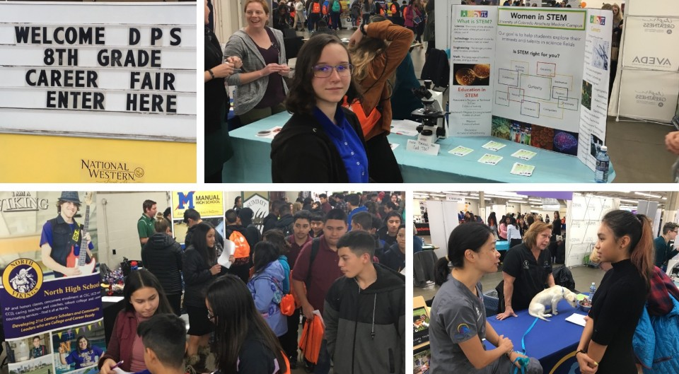Thousands of eighth-grade students met face-to-face with representatives from companies, postsecondary institutions and high schools at the DPS Eighth-Grade Career Fair.