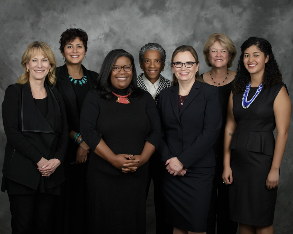 From left to right: Barbara O'Brien, Lisa Flores, Jennifer Bacon, Happy Haynes, Carrie Olson, Anne Rowe and Angela Cobián.