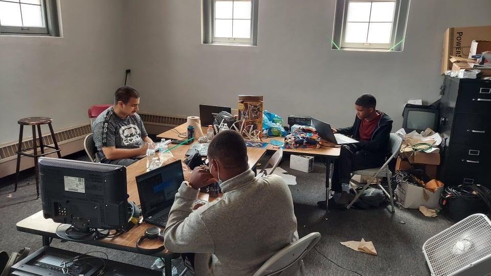 Students at an internship