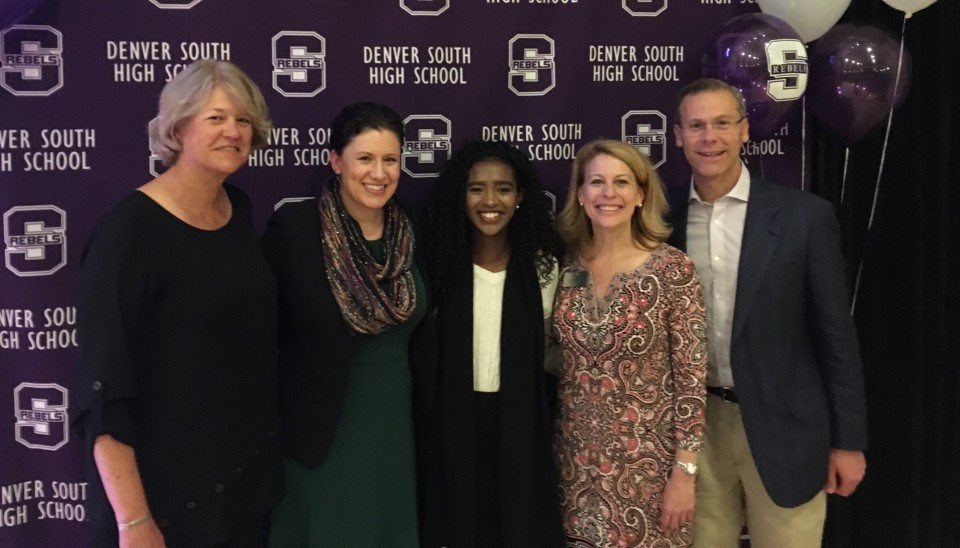 DPS Board of Education president Anne Rowe, South High School principal Jen Hanson, South senior Sara Gebretsadik, Denver Scholarship Foundation CEO Lorii Rabinowitz and Superintendent Tom Boasberg celebrate College Signing Day at South High School.