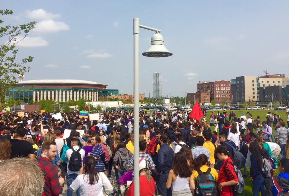 DPS students join other community members in a protest of the Trump administration's announcement that it will rescind Deferred Action for Childhood Arrivals (DACA).