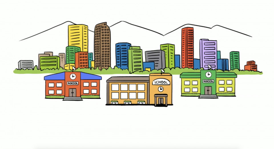 A colorful illustration of the Denver cityscape against an outline of the mountains, with three school buildings placed in the foreground