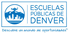 "DPS logo in blue with tagline that reads ""Discovery a World of Opportunity"" in spanish"