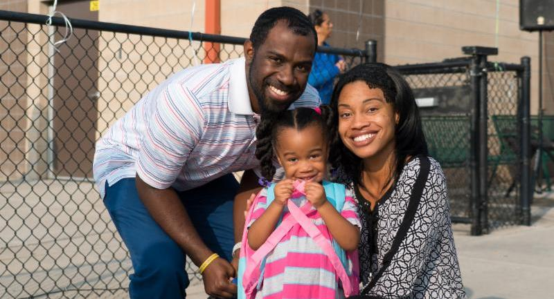 Families and students celebrated the first day of school at Escalante-Biggs Academy on Monday.
