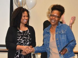 Ratosha Miller (right) was one of six parents honored with a Family Leadership Award for embodying one of our Shared Core Values.
