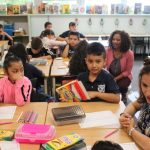Deputy Supt. Susana Cordova visits students at Castro Elementary on the first day of school.