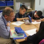 Supt. Tom Boasberg visits with students on the first day of school at Castro Elementary.