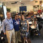 Supt. Tom Boasberg and Deputy Supt. Susana Cordova visit teacher Mario Galvan's classroom on the first day of school.