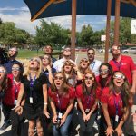 Members of #teamDPS observe the solar eclipse on the first day of school.