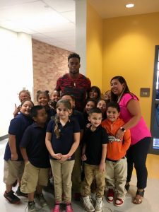 Brandon Marshall with Swansea Elementary Students