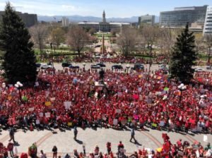Teachers marched on the State Capitol last spring in support of increased funding for education.