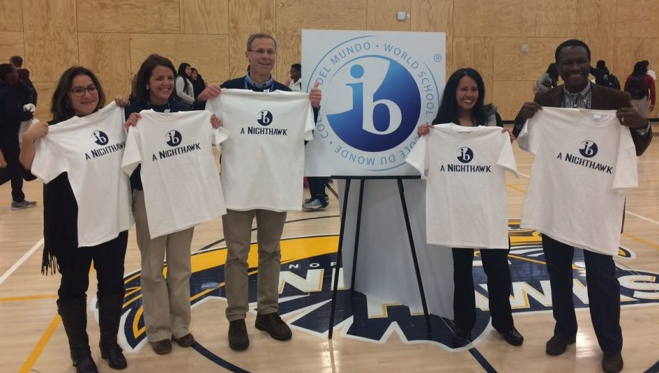 Pictured: Deputy Superintendent Susana Cordova, NHS principal Amy Bringedahl, Superintendent Tom Boasberg, Board of Education member Rachele Espiritu and Stapleton Foundation president Landri Taylor celebrate NHS' designation as an IB World School.