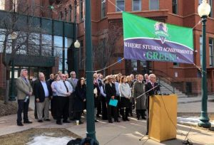 Superintendents across Colorado united for fairer funding at a press conference held at Dora Moore in February.