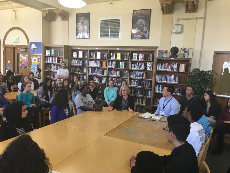 Author Helen Thorpe visits with South High Students.
