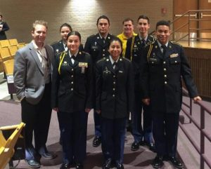 North High School JROTC cadets saluted our country's veterans with a presentation of colors and special tribute to those who fought in each American war.