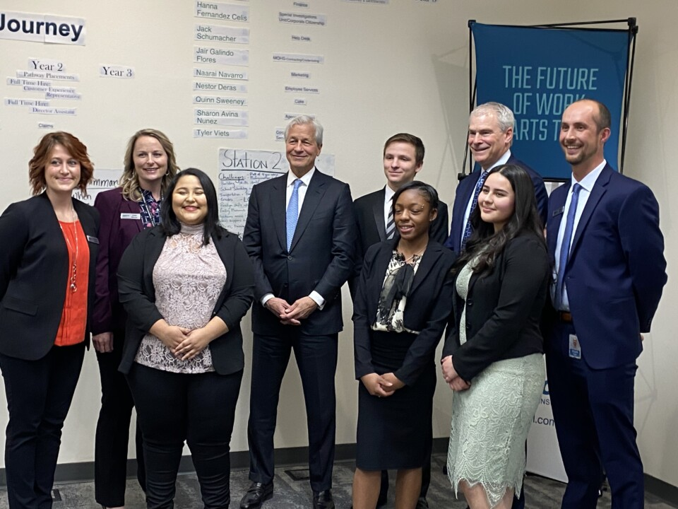 JPMorgan Chase CEO Jamie Dimon with Pinnacol Assurance CEO Phil Kalin, staff and apprentices at Pinnacol.