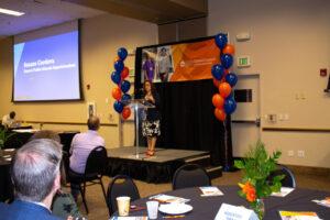 Superintendent Susana Cordova speaking at the Celebration of Partner Impact breakfast.