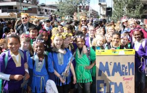 Students from McMeen Elementary participate in the Shakespeare Festival opening ceremony.