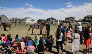 Isabella Bird students eagerly ask the police officers questions about their horses.
