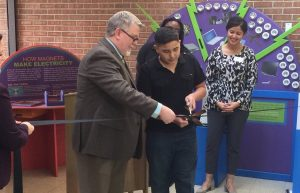 Kyle Conroy and Damian Nevarez cut the ribbon at Bear Valley International School's new STEM lab.