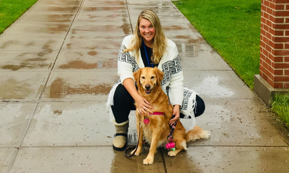 Hannah Mains and her therapy dog, Lola