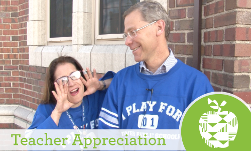 "Superintendent Tom Boasberg and Susan Cordova with the text ""Teacher Appreciation"""