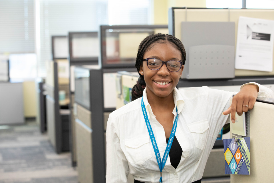 Student at an apprenticeship