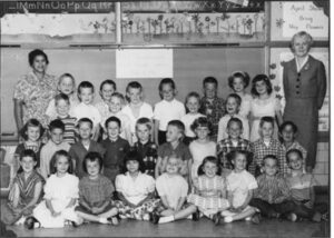 Classroom of students from the 1960s with teacher Marie Greenwood