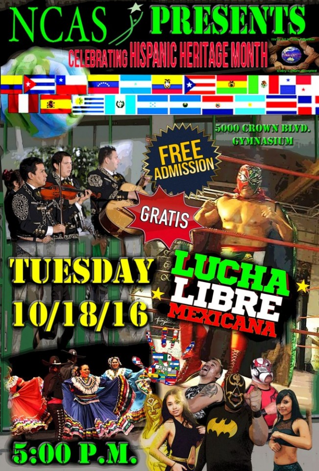 Noel Community Arts flier for Lucha Libre event.