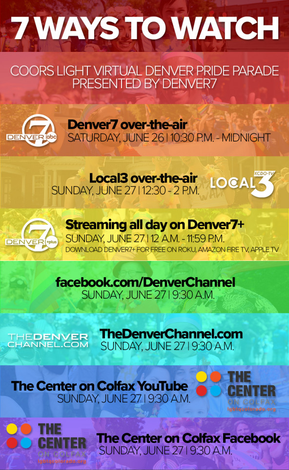 """Rainbow-colored poster with title, """"7 Ways to Watch"""" Denver's Pride Parade"""