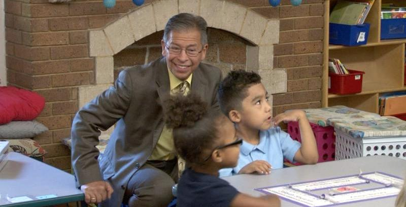 Interim Superintendent Dr. Ron Cabrera visiting students during class.