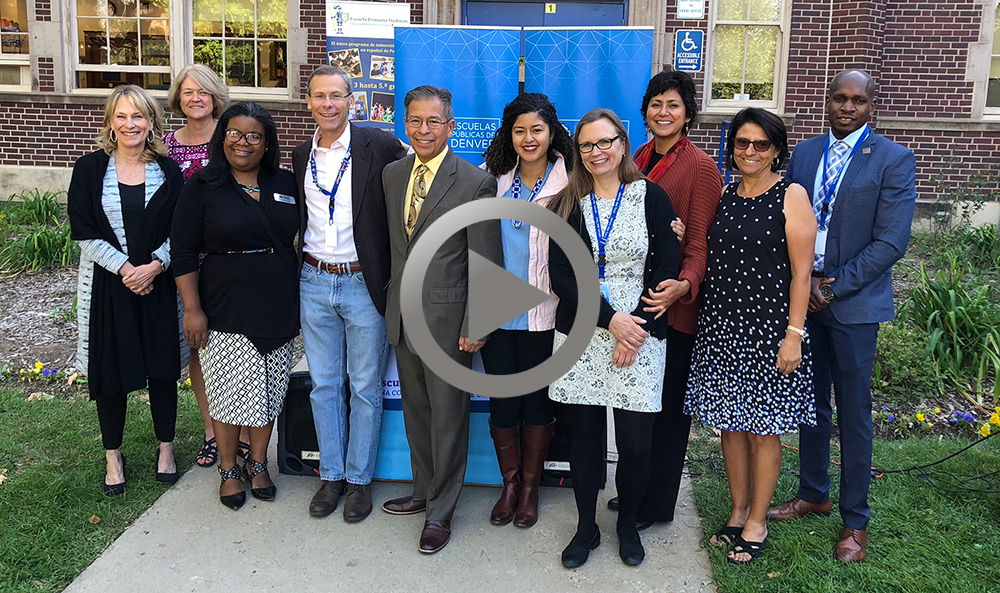 Superintendent Tom Boasberg with Interim Superintendent Ron Cabrera and Board of Education members