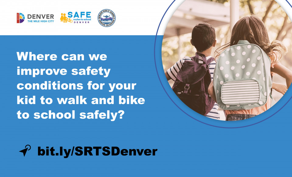 City of Denver graphic with two students wearing backpacks