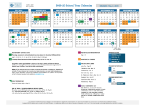Image of DPS board of education-approved calendar for the 2019-2020 school year