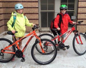 Students at Steele Elementary biked to school.