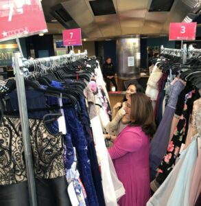 Susana Cordova and DPS student shop for prom dresses