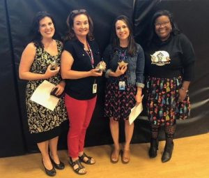 Teacher Leaders Sara Thornton, Stacey Hervey and Cheryl Cordova were among those celebrated by board member Jennifer Bacon and the rest of the Board of Education Thursday, honoring their five years of service in a Teacher Leader role.