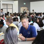 Supt. Tom Boasberg enjoys lunch with students at Strive Rise