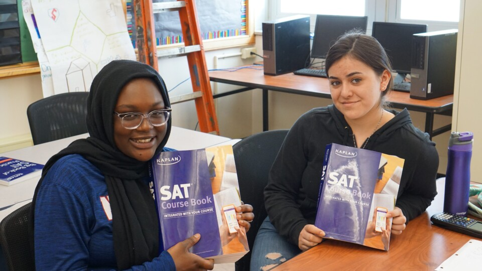 Two DPS students participating in the free Kaplan SAT Test Prep Program at Abraham Lincoln High School.