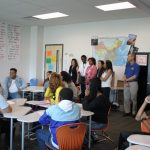 "Supt. Tom Boasberg and Deputy Supt. Susana Cordova visiting Northfield's Mandarin Chinese class to say ""nǐ hǎo"""