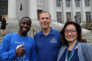 Thomas Jefferson High School Senior Yonis Noor, Superintendent Tom Boasberg and Deputy Superintendent Susana Cordova.